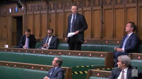 Peter Aldous MP speaking in the House of Commons